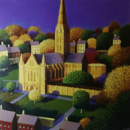 Kevin Safe SALISBURY CATHEDRAL AND CLOSE BATHED IN AUTUMN SUNLIGHT Acrylic 30 x 30cm