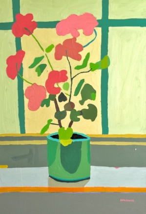 Sam Wadsworth, Pink Geranium - green pot, 2017