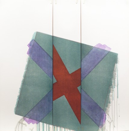 Richard Smith, Two of a Kind VIb (dark red x on green at angle), 1978