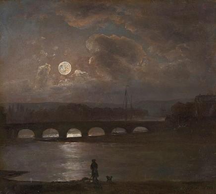 J.C. Dahl (1788-1857), Moonlit view of the River Elbe, 1826, Oil on paper on wood, 19,4 x 21 cm, The MET/Morgan Museum