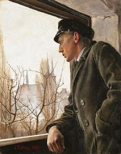 L.A. Ring (1854-1933), At the window, 1925, Oil on canvas, 36 x 28 cm, Ordrupgaard