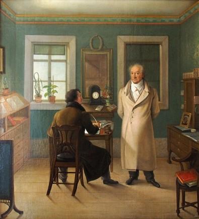 Johann Joseph Schmeller (1796-1841), Goethe dictating, 1834, Oil on canvas, Anna Amalia Bibliothek, Weimar
