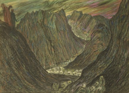 Henry de Groux (1866-1930), Dante and Virgil in hell, c. 1898-1900, Pastel, 66 x 90 cm, Collection Lucile Audouy