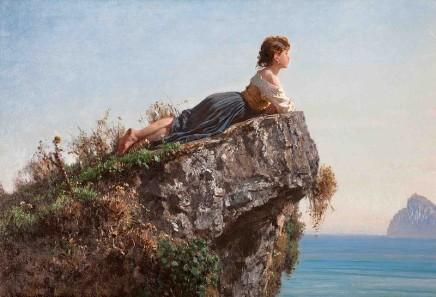 Filippo Palizzi (1818-1899), Girl on a rock in Sorrento, 1871, oil on canvas, 54,8 x 79,5 cm, Collezione Balzan