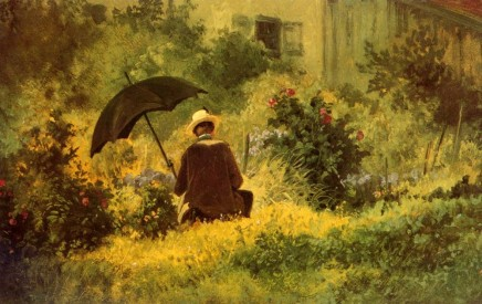 Carl Spitzweg (1808-1885), Der Maler im Garten, ca. 1860, oil on carton, 21,5 x 34 cm, Kunstmuseum Winterthur