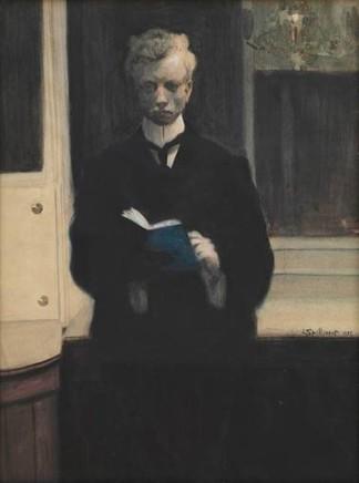 Léon Spilliaert (1881-1946), Self=portrait with blue book, 1907, watercolour, 50 x 38 cm, Royal Museum of Fine Arts, Antwerp