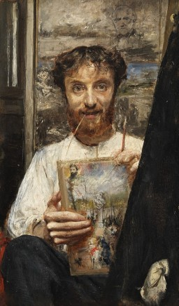 Antonio Mancini (1852-1930), Self-portrait with straw, c. 1880, oil on canvas, Private Collection