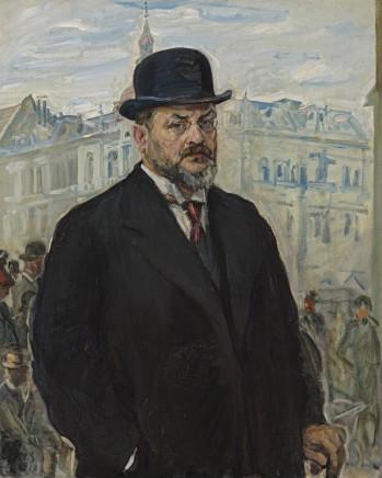 Max Slevogt (1868-1932), Self-portrait wearing a bowler hat, 1913, oil on canvas, 105,5 x 83,3 cm, Lenbachhaus