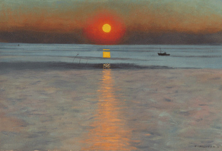 Felix Vallotton (1865-1925), Sunset with stranded boat, ca. 1912, oil on canvas, private collection