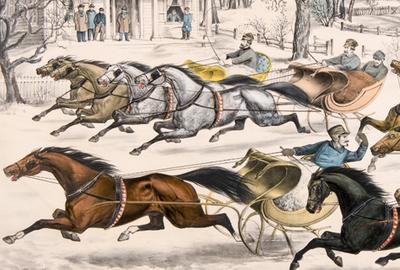 Thomas Worth (1834-1917), A brush for the lead: New York Flyers in the snow (detail), 1867, lithograph, Joslyn Art Museum