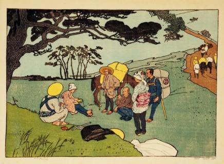 Emil Orlik (1870-1932), Japanese resting on the mountain, 1900, colour woodblock print, 25,6 x 33,9 cm