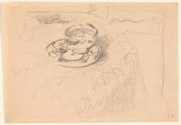 Édouard Vuillard (1868-1940), The bowl on the table, ca. 1905, graphite on paper, 11,6 x 16,8 cm, Morgan Library & Museum