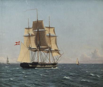 C.W. Eckersberg (1783-1853), The Corvette Najaden under sail, ca. 1834, oil on canvas, 48 x 55,5 cm, Nivaagaard