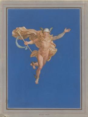Attr. to Erwin Speckter (1806-1835), After Raphael. Mercury descending from Mount Olympus, ca. 1830/35, goauche, 580 x 442 mm, Kunsthalle Hamburg