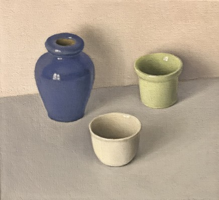 David Stubbs Blue, White and Green on Brown, with Pink and Grey