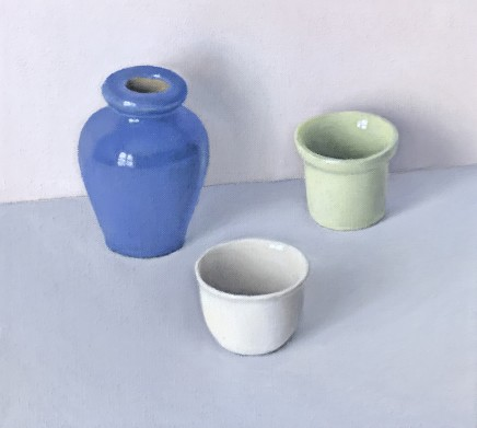 David Stubbs, Blue, White And Green On Grey And Pink