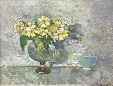 Muriel Mallows, Primroses in Glass Vase