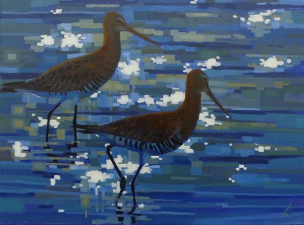 Brin Edwards, Two Black Tailed Godwits, 2018