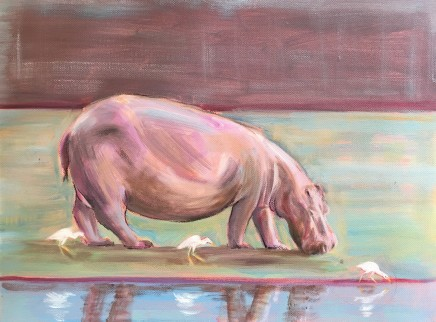 Camilla Gardener, Hippo With Three Egrets, 2018
