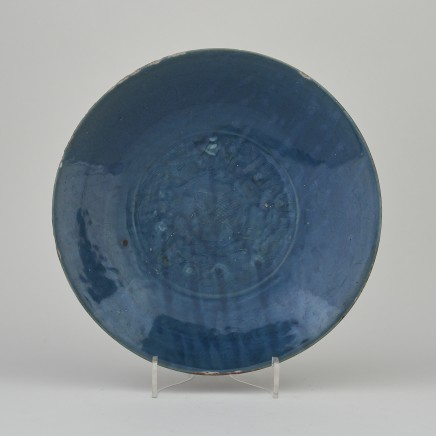 A CHINESE SWATOW BLUE GLAZED DISH, second half of the 16th century