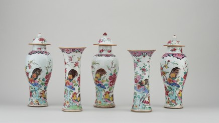 A CHINESE FAMILLE ROSE EXPORT GARNITURE OF FIVE VASES, : Early Qianlong period, circa 1740