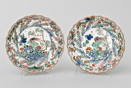 A PAIR OF CHINESE FAMILLE VERTE PETAL MOULDED SAUCER DISHES, Kangxi (1662-1722)