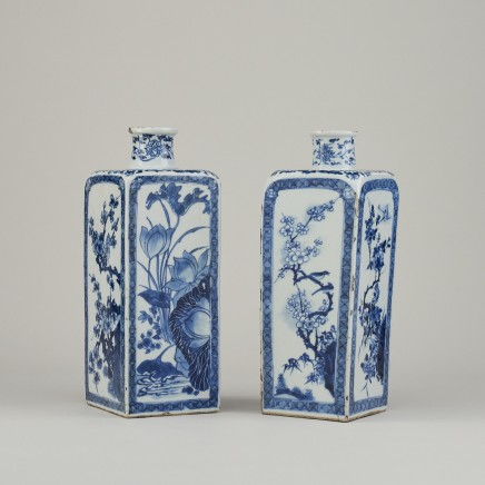 A Near Pair of Chinese Blue and White Porcelain Flasks, 1662-1722