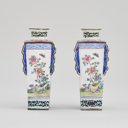 A PAIR OF UNUSUAL CANTON ENAMEL VASES, Qianlong (1736 – 1795)