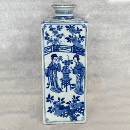 A FINE AND RARE PAIR OF CHINESE BLUE AND WHITE FLASKS, Kangxi (1662-1722)