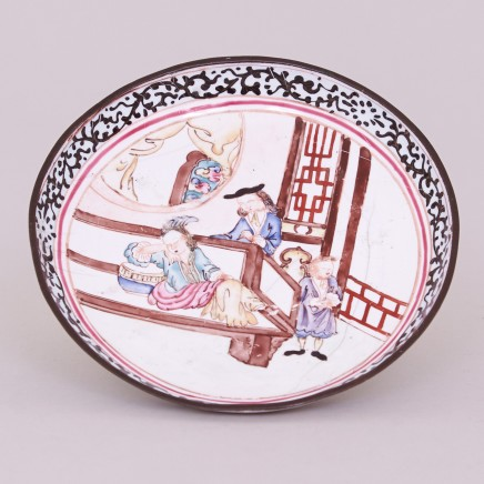 A CHINESE CANTON ENAMEL FAMILLE ROSE ROUND DISH, Qianlong (1736-1795)