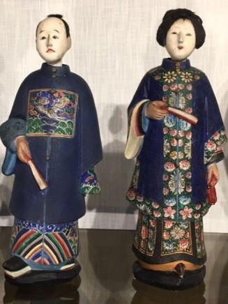A PAIR OF CHINA TRADE PAINTED CLAY CANTONESE NODDING HEAD FIGURES, 19th century