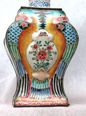 An Unusual Canton Enamel Caddy, Qianlong (1736 - 1795)