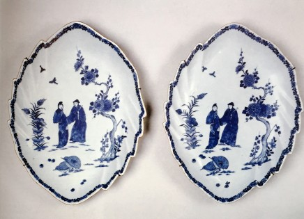 A PAIR OF CHINESE BLUE AND WHITE LEAF-SHAPED DISHES, Qianlong (1736 - 1795)