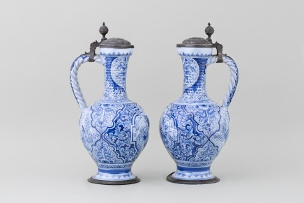 A PAIR OF NUREMBERG PEWTER MOUNTED FAIENCE JUGS (ENGHALSKRUG), 18th century