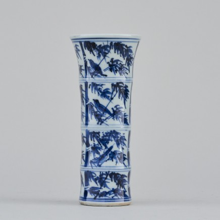 A RARE MINIATURE CHINESE BLUE AND WHITE 'BAMBOO' VASE, Kangxi (1662 - 1722)