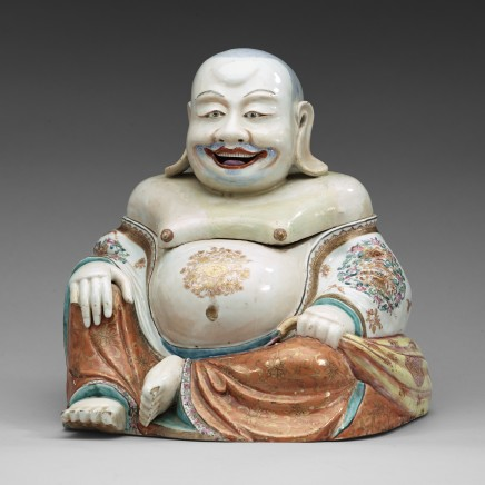 A LARGE FAMILLE ROSE TUREEN WITH COVER IN THE SHAPE OF BUDAI , Qianlong 1736-1795