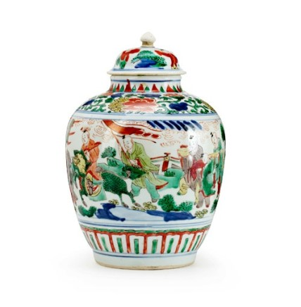 A CHINESE WUCAI JAR AND ASSOCIATED COVER, Transitional (1644-1661)
