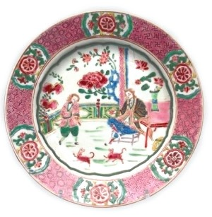 A EUROPEAN SUBJECT FAMILLE ROSE PLATE, Yongzheng (1723 1735)