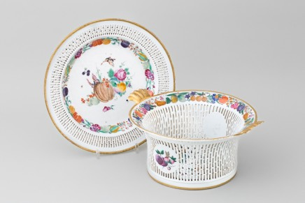 A FAMILLE ROSE RETICULATED BASKET AND STAND, Qianlong (1736 – 1795)