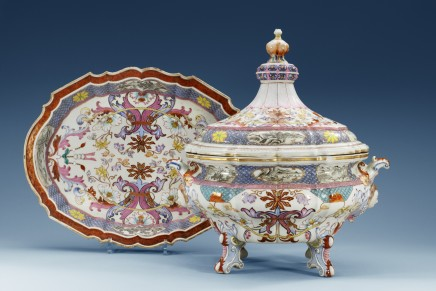 A FINE AND RARE FAMILLE ROSE TUREEN, COVER AND STAND, Qianlong (1736-1795)