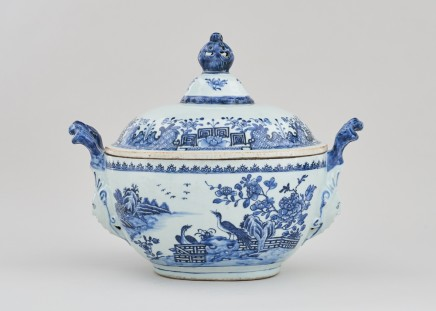 A NANKIN 'MASK-HANDLE' TUREEN AND COVER, Qianlong (1736 – 1795)