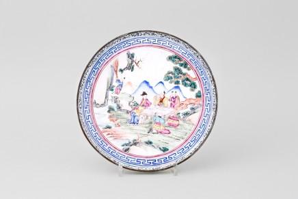 A CHINESE FAMILLE ROSE QIANLONG CANTON ENAMEL DISH, Qianlong 1736-1795