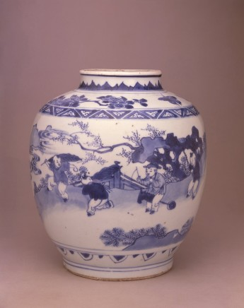 A LATE MING OVIFORM JAR, Circa 1640 - 1650