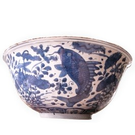 A RARE CHINESE BLUE & WHITE MING BOWL, 万历年间 (1573 – 1619)