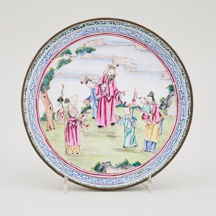 A CHINESE FAMILLE ROSE QIANLONG CANTON ENAMEL DISH, Qianlong (1736-1795)