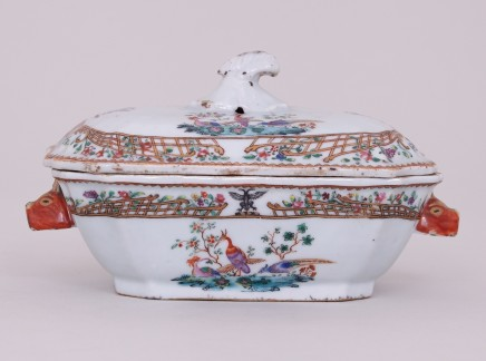 CHINESE FAMILLE ROSE EXPORT ARMORIAL SAUCE TUREEN AND COVER , Qianlong (1736-1795)