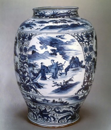 A RARE LARGE BLUE AND WHITE JAR, 转变期 (1644 – 1661)