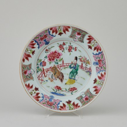 A RARE FAMILLE ROSE PLATE, Qianlong (1736 - 1795)