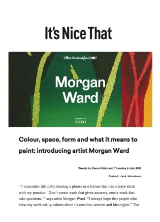 Colour, space, form and what it means to paint: introducing artist Morgan Ward