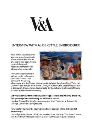 V&A Interview with Alice Kettle, Embroiderer